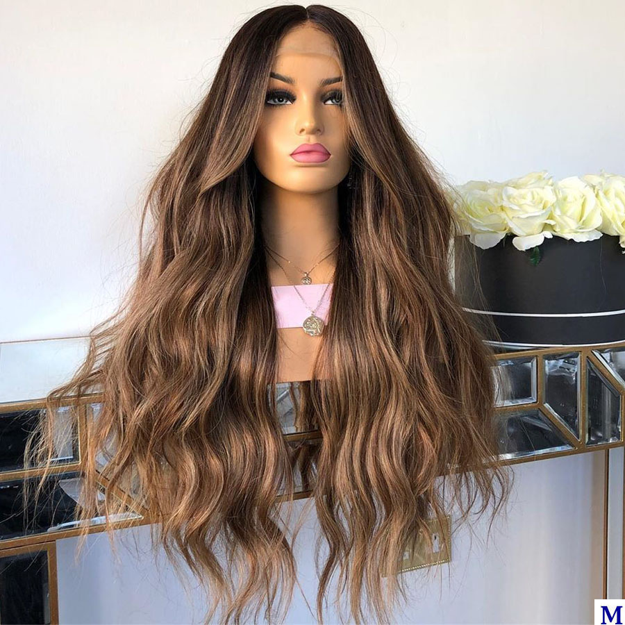Eversilky Highlight Deep Part  Lace Front Human Hair Wigs Natural Wave 180Density Blonde Full Lace Wigs With Bleached Knots
