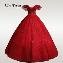 It's YiiYa Wedding Dresses Burgundy Boat Neck Sling Wedding Dress Plus Size Lace Beading Appliques Long Robe De Mariee CH154
