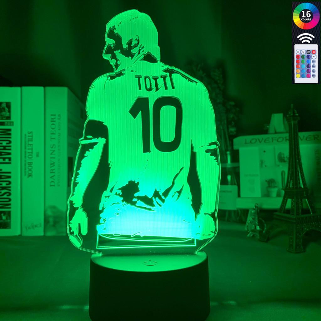 3d Lamp Football Player Francesco Totti Back View Acrylic Nightlight For Room Decor Colorful Touch Sensor Led Night Light Gift
