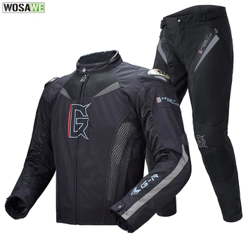 GHOST RACING Titanium Alloy Super Moto Racing Motorcycles Full Body Protection Jacket Pants Autumn Winter Motorcycle Cloth