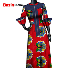 African Clothing Styles Women Lady Wear Round Necklace Front Zipper Ankara Print Long Gown WY9102