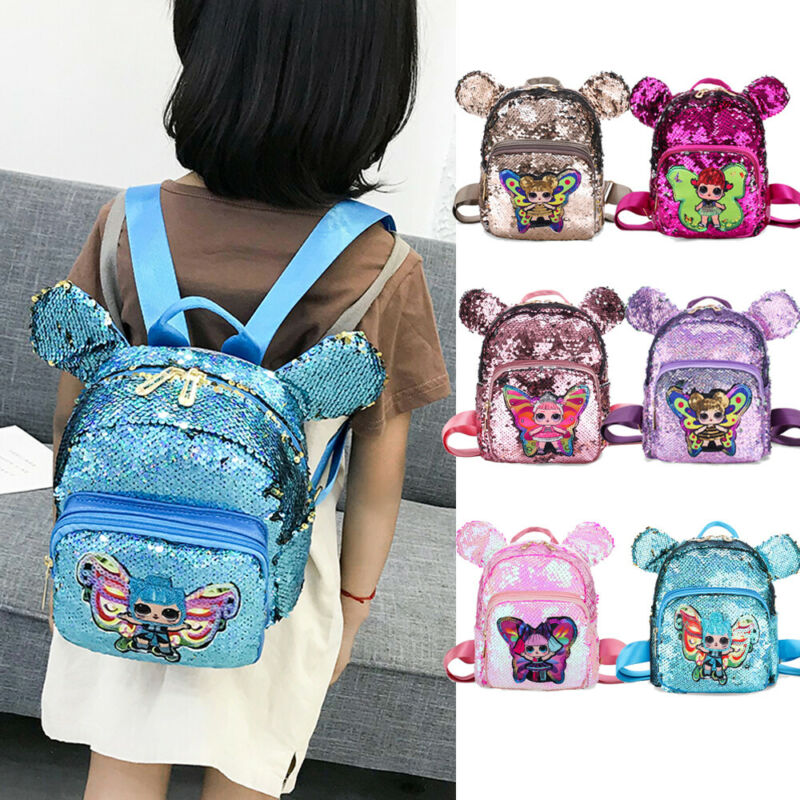 PUDCOCO Boys Girls <font><b>Backpack</b></font> 3D Cartoon Sequins Children Kids Rucksack Travel School Bags image