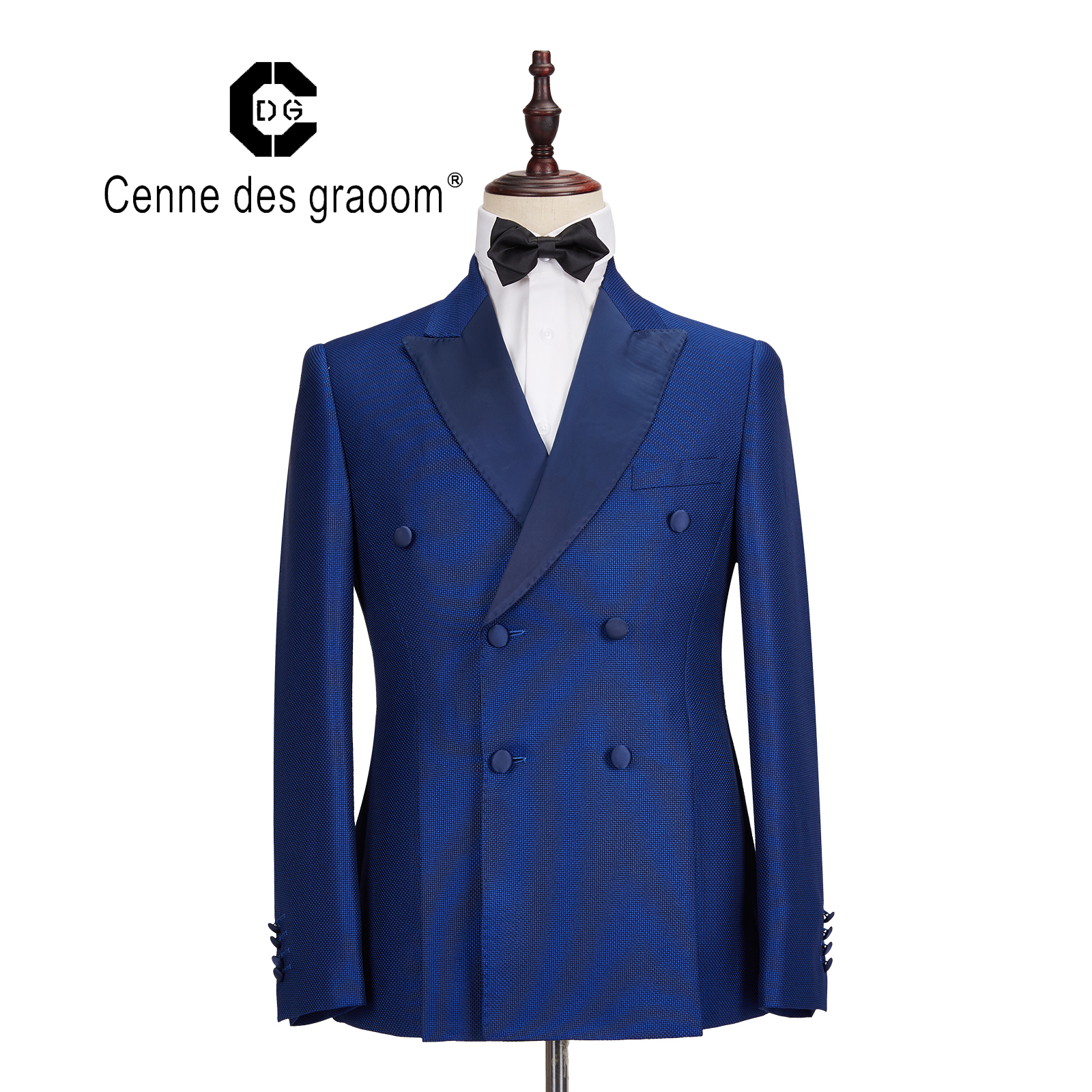 Cenne Des Graoom New Men Suit Costume Blazer Pants Tailor-Made 2 Pieces Plaid Slim Fit Blue Business Wedding DressDG-961