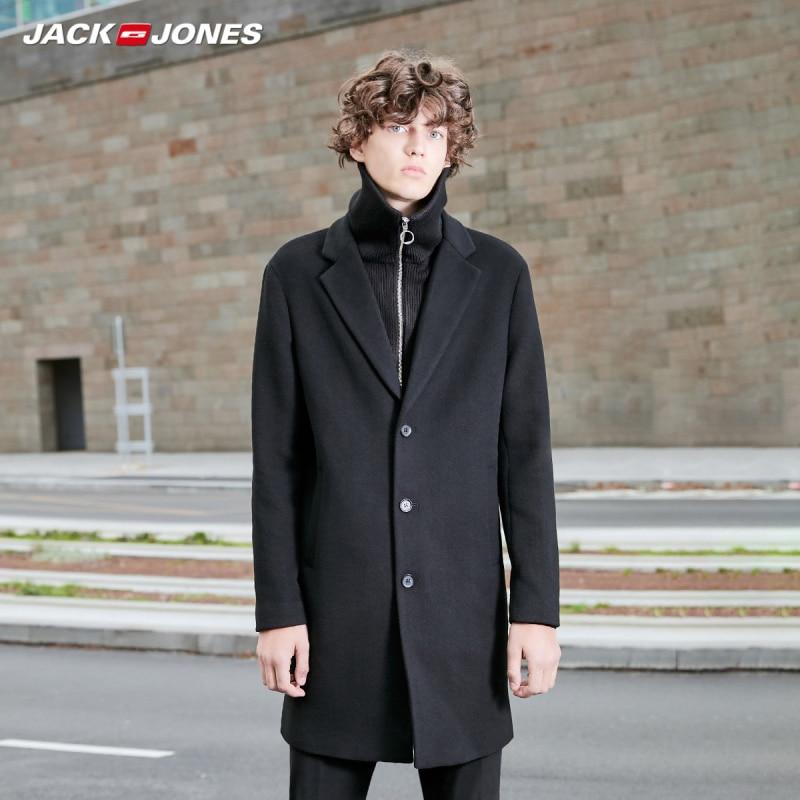 JackJones Men's Mid-length Woolen Overcoat Menswear|basic 219327516