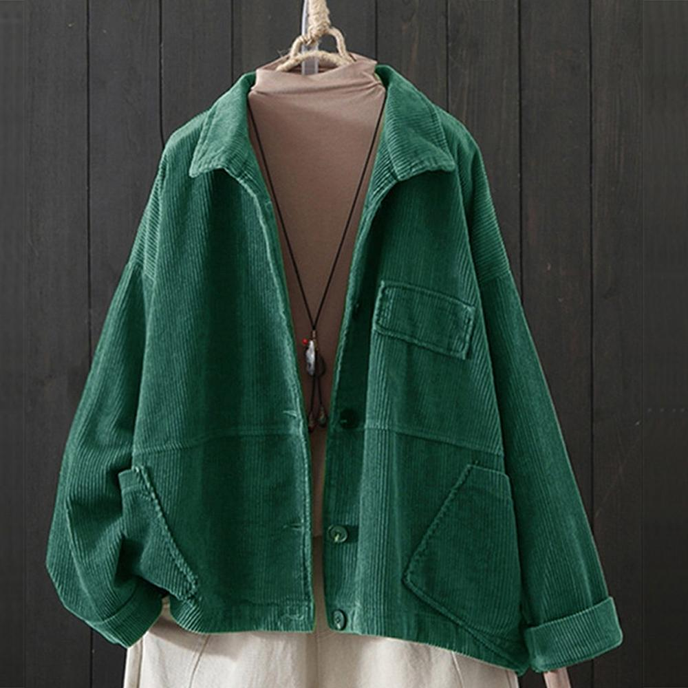 Women Solid Cardigan Corduroy Crop Top Lapel Pocket Long Sleeve Long Autumn Coat Loose Casual OutwearJacket H1