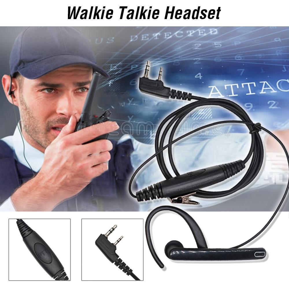 Ear Rod Headphones 2 Pin PTT Mic Tactical Headset for Baofeng Walkie Talkie