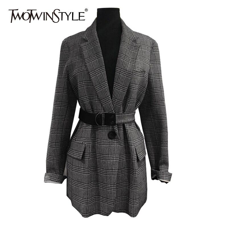 TWOTWINSTYLE Elegant Plaid Women's Blazer Long Sleeve V Neck Pocket High Waist With Sashes 2019 Autumn Fahsion New Clothing