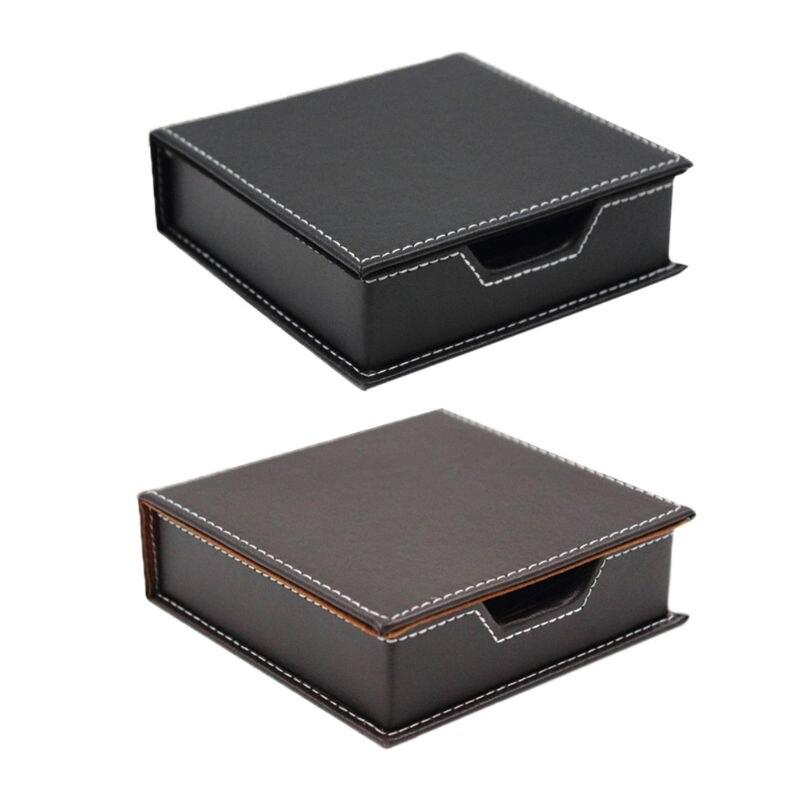 PU Leather Business Card Holder Pocket Carrier Memo Box Sticky Note Storage Case Office School Supply Desk Accessories Organizer