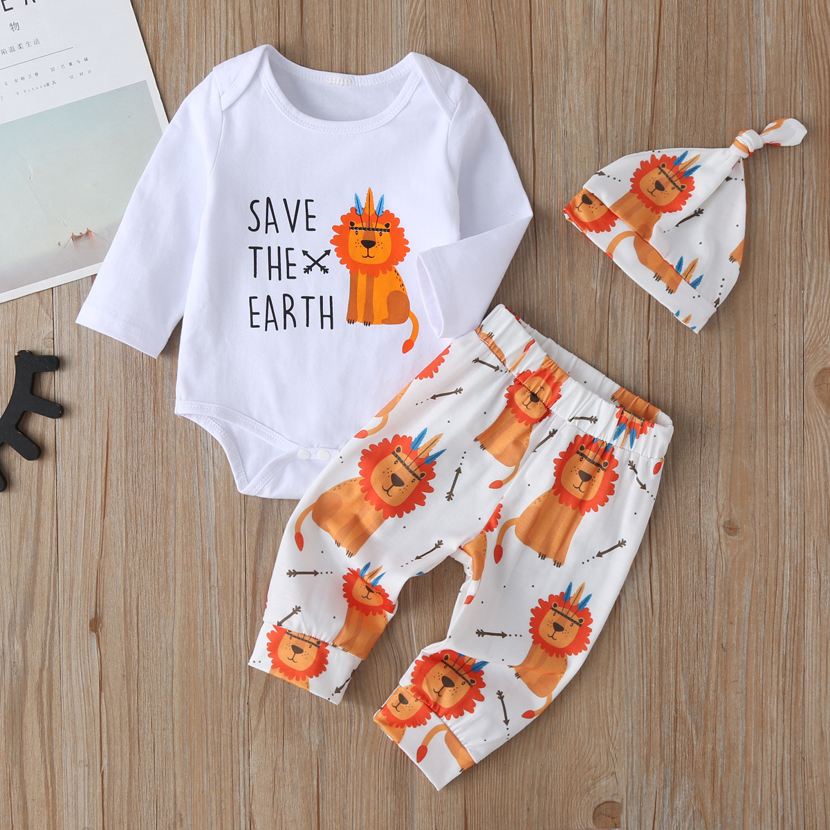 2021 New Newborn Spring Autumn Boys Girls Cotton Long Sleeve Line Sets Kids Clothes Tracksuit Baby T-Shirt Pants Hat 3 Pcs/Suit