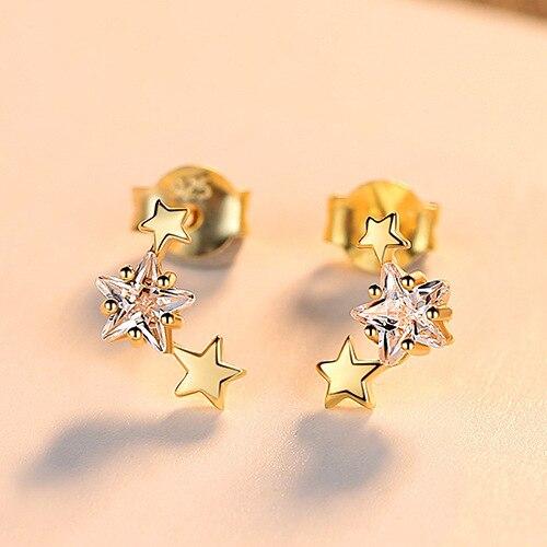 PAG & MAG nouveau 925 boucles d'oreilles en argent Sterling étoile Zircon boucles d'oreilles femme mode simple petit pentagramme femme bijoux - 6