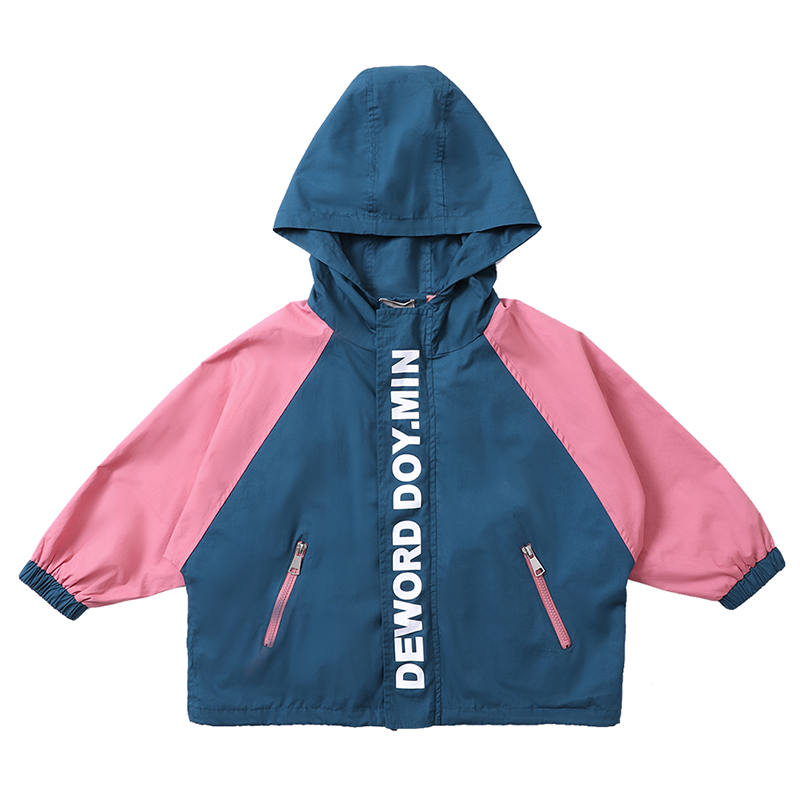 Girl Sew Zipper Up Hoodie Jacket Coat Kids Clothing 2019 Spring Girl Colorblock Pocket Casual Jackets in Jackets Coats from Mother Kids