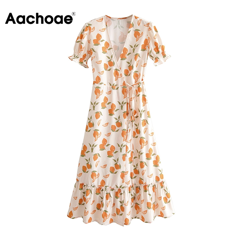Aachoae Women Lemon Print Dress Summer 2020 Ruffle V Neck Boho Beach Midi Dress Ladies Short Sleeve A Line Casual Wrap Dresses