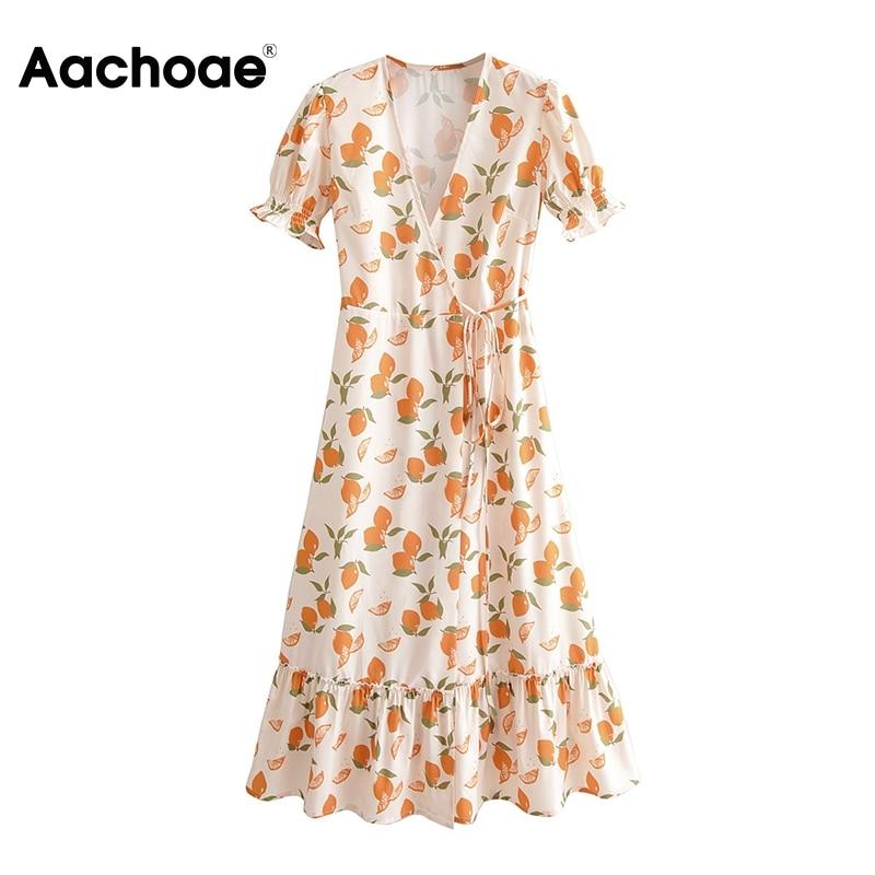 Aachoae Women Lemon Print Dress Summer 2020 Ruffle V Neck Boho Beach Midi Dress Ladies Short Sleeve A Line Casual Wrap Dresses