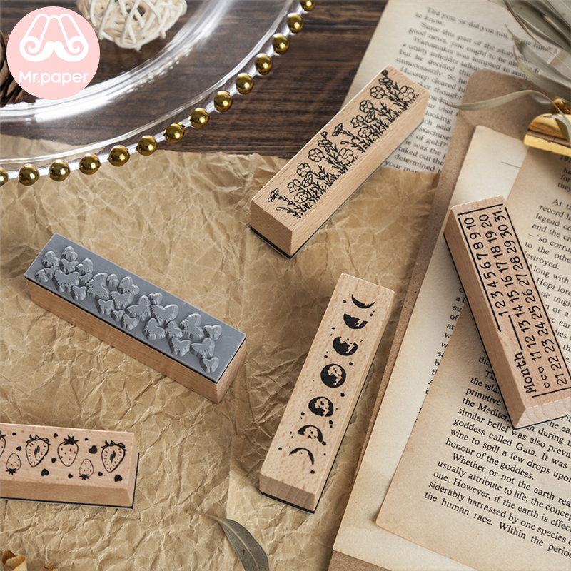 Mr Paper 12 Designs Planet Moon Flowers Number Piano Wooden Rubber Stamp for Scrapbooking DecoDIY Craft Standard Wooden Stamps 3