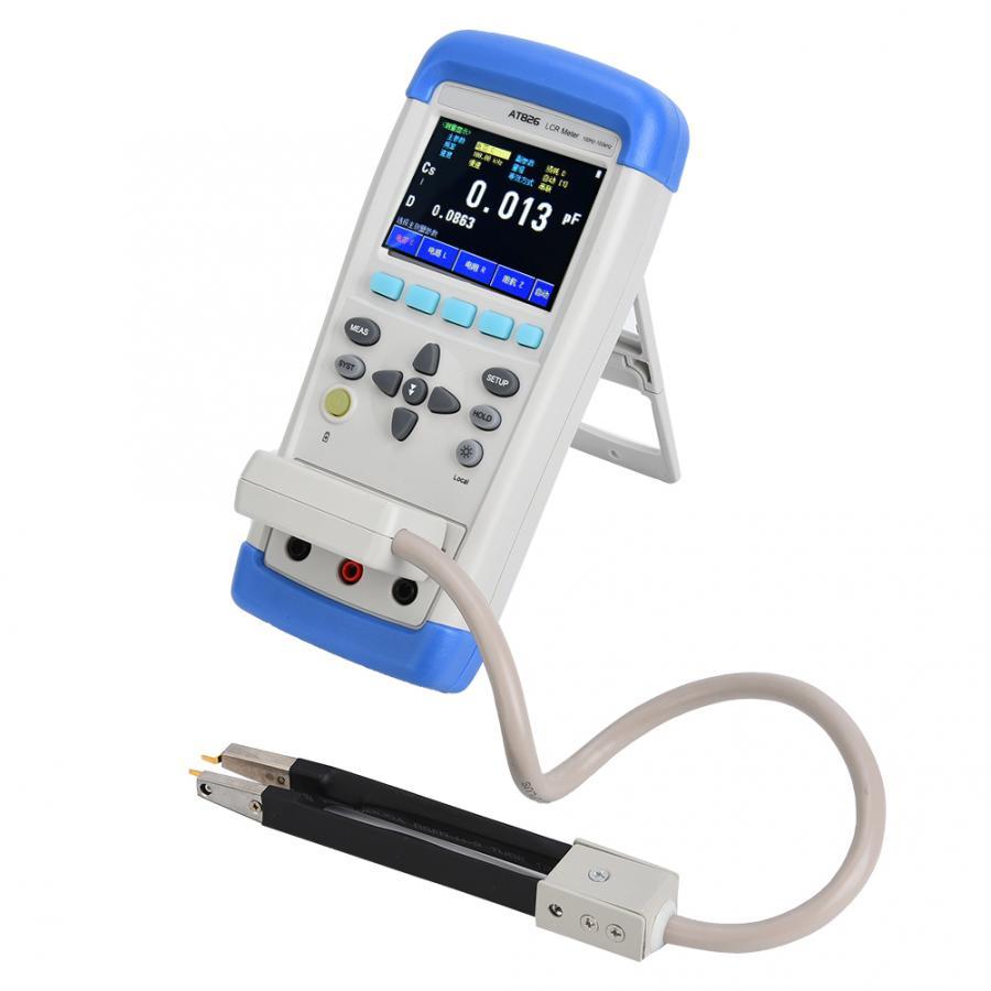 AT826 профессиональный ручной цифровой измеритель сопротивления LCR 9999 мкГн-100 Ч тестер емкости индуктивности сенсорный Амперметр 240-в