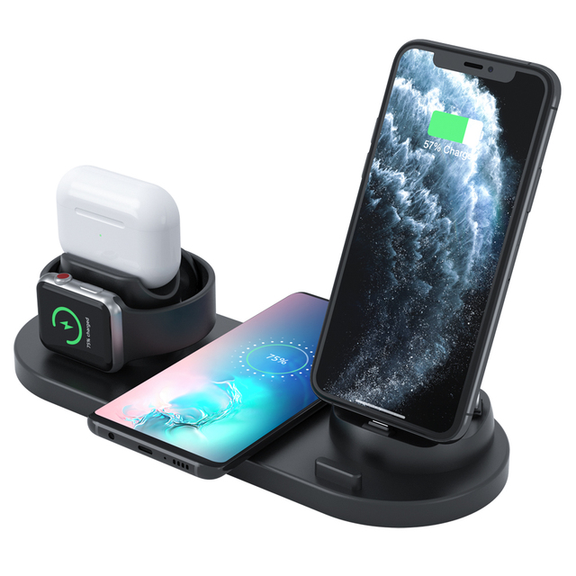 15W Fast Charging Station 6 in 1 Wireless Chargers Apple Phone Accessories Earbud Smartwatch Chargers 1
