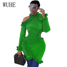 WUHE Sexy Hollow Out Hole Women Elegant Long Sleeve Bodycon Bandage Mini Dress New Arrival Femme Fashion Ruffles Red Green