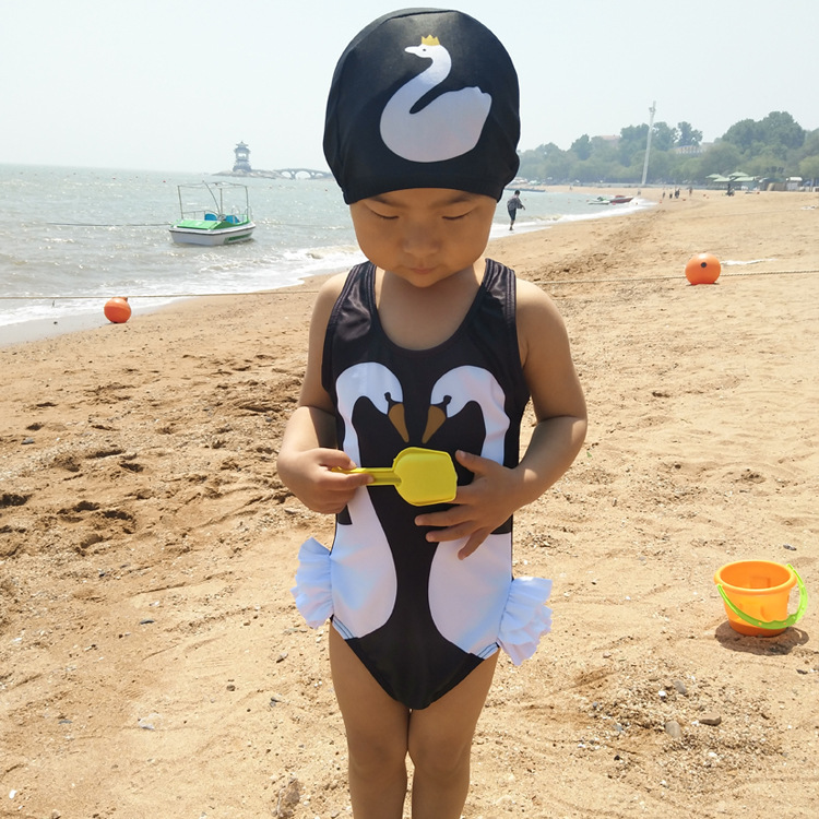 CHILDREN'S Swimwear GIRL'S One-piece Swimwear Cute Princess Baby Mermaid Little Swan Flamingo Girls Hooded