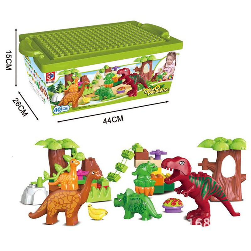 40Pcs/Lot Dino Valley Building Blocks Sets Large Particles Animal Dinosaur World Model Toys Bricks Compatible Legoinglys Duploe