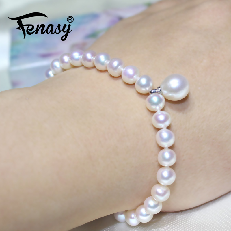 FENASY 925 Sterling Silver Bracelet Classic 7-8mm Oval Freshwaer Pearl Jewelry Natural Pearl Bracelets For Women Idea Gift