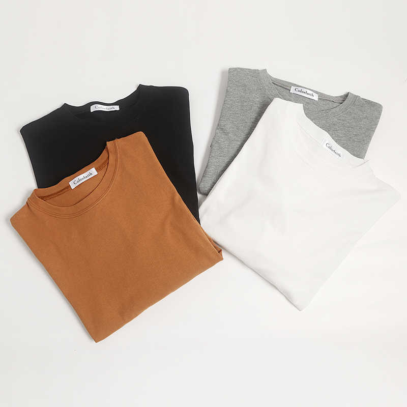 Colorfaith 새로운 2020 여성 봄 느슨한 티셔츠 솔리드 Bottoming 긴 소매 캐주얼 한국 미니멀 스타일 Triko 탑스 티 T601