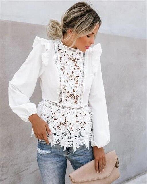 Women Elegant Long Sleeve Lace White Blouses Tops Summer Fall Retro Blouse Shirts harajuku 5