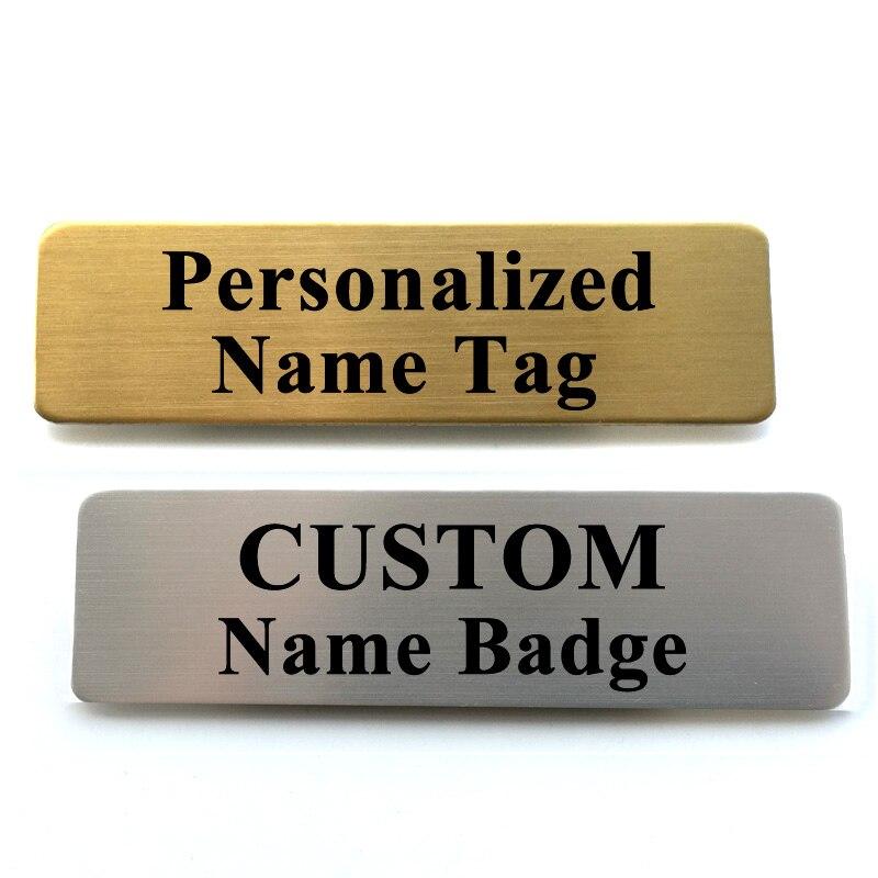 Именная бирка с индивидуальной гравировкой с вашим именем, именной значок с брошью, булавкой, именной биркой