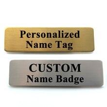 Étiquette de nom personnalisée gravée avec votre nom, Badge de Position avec broche, Badge d'identification