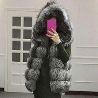 Vest Coat Women Hooded Fur Winter Female Thick Warm Faux Fur Vest High imitation Fur Jackets White Outerwear 2019 New