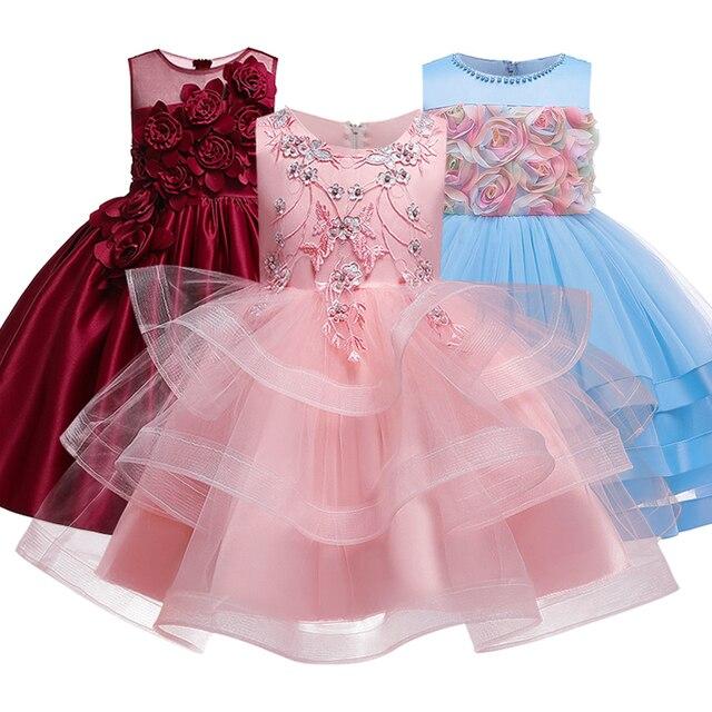 Вечерние платья с вышивкой для девочек; Платье с цветами и бусинами для девочек; Одежда для свадьбы; Вечерние платья; Детский костюм Pengpeng Show