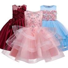 Girlsparty فستان حفلة مطرز زهرة الفتيات مطرز ملابس الزفاف فستان حفلة للأطفال Pengpeng تظهر زي