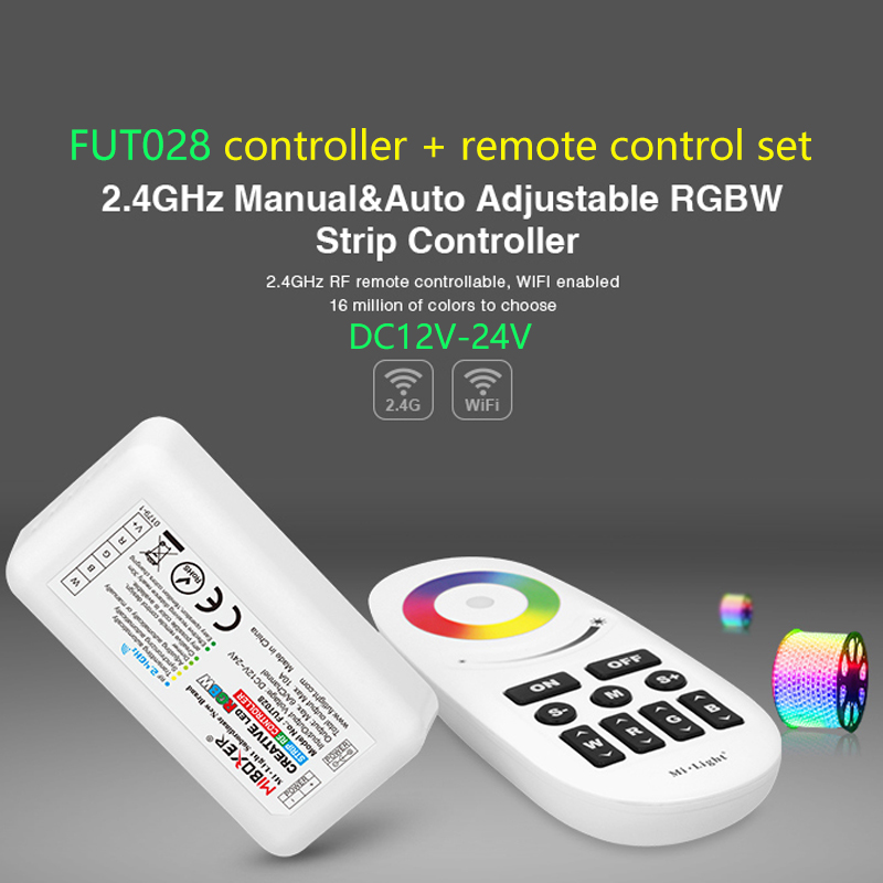 <font><b>FUT028</b></font> 2.4GHz Manual & Auto Adjustable RGBW Strip Controller & Touch Remote DC12-24V led dimmer remote set for RGBW LED Strip image