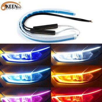 OKEEN Ultrafine DRL 30 45 60cm Daytime Running Light Flexible Soft Tube Guide Car LED Strip White Turn signal Yellow Waterproof