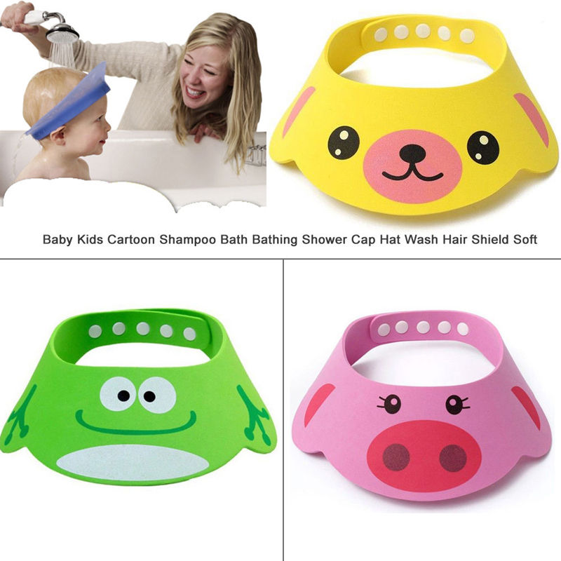 Newest Hot Baby Kids Home Useful Bou Girl Cartoon Shampoo Bath Bathing Shower Cap Hat Wash Hair Shield Soft