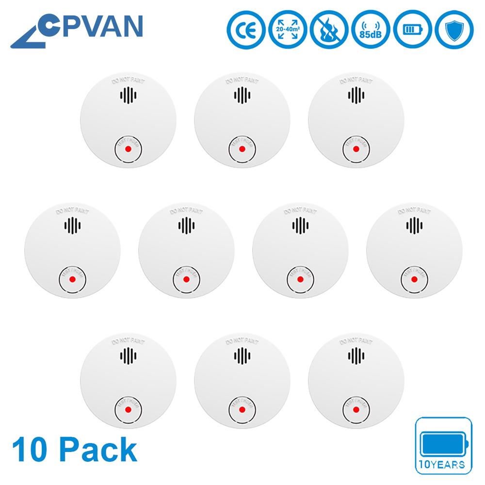 CPvan SM01 10pcs/Lot Smoke Detector EN14604 CE Certified 10 Years Battery Smoke Sensor Fire Alarm Home/Office Security Detector