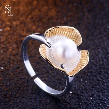 SL regulowany srebrny damski falbany koronkowy pierścionek pierścionek z perłą S925 pierścionek z biżuterią w stylu Vintage tanie i dobre opinie SILVER 925 sterling CN (pochodzenie) Kobiety NONE Osoba trzecia oceny Grzywny Invisible ustawienie Brak Pierścionki TL-157