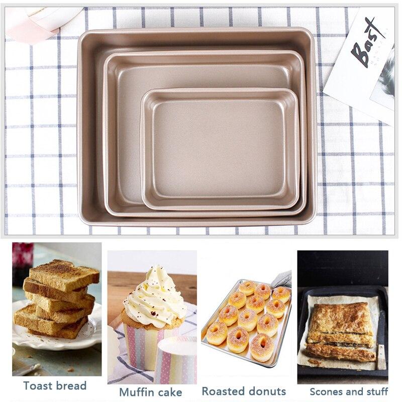 Yomdid retângulo bolo panelas de cozimento durável aço pesado biscoitos bolo de biscoito bandeja de cozimento cozinha antiaderente pizza pão ferramenta cozida
