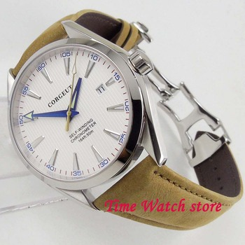 Corgeut 41mm Miyota 5ATM Polished men's watch white dial silver marks sapphire glass  water resistance Automatic