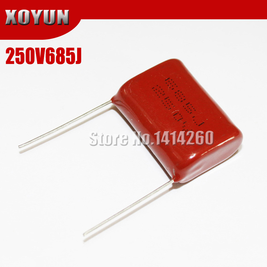 5PCS 250V685J 6.8UF CBB Pitch 25mm 250V 685J  CBB Polypropylene Film Capacitor