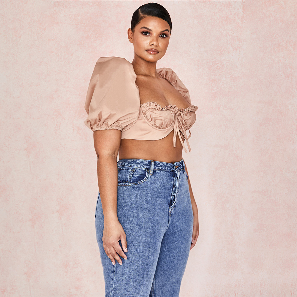 Cryptographic Vintage Square Collar Brandy Melville Women Top and Blouse Shirts Sexy Backless Crop Tops Puff Sleeve Blusas Mujer