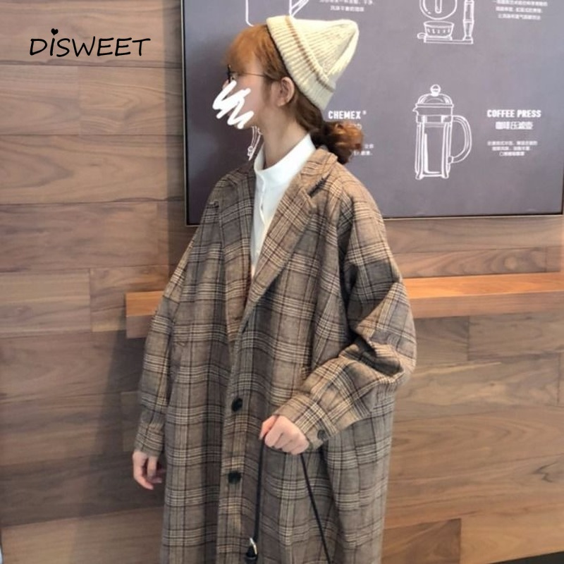 Harajuku Woolen Plaid Jacket Female Korean Version of The School Long Section Ladies Coat 2019Winter Leisure Loose Warm Jackets