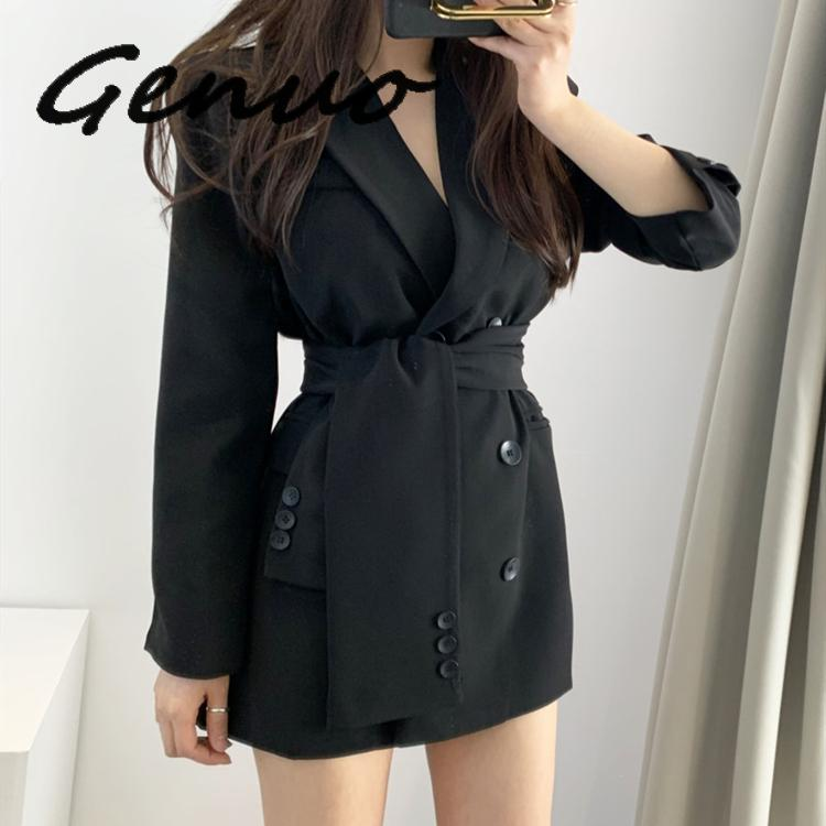 Genuo New 2019 Autumn Winter Women's Blazers Sashes Lace Up Formal Long Jackets Notched Outerwear England Style Tops