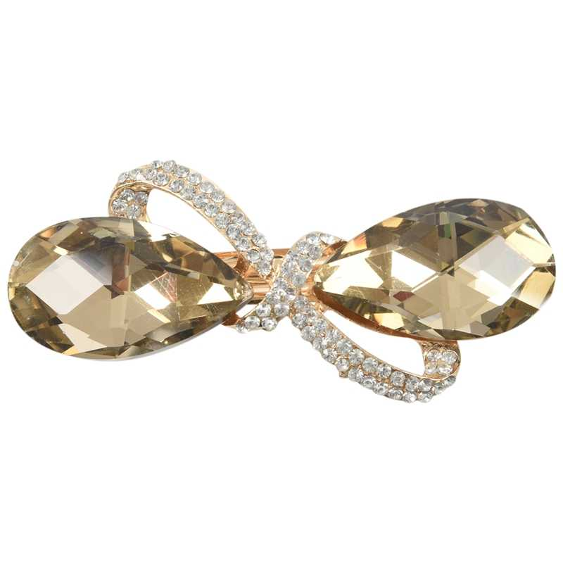 Fashion Crystal Rhinestone Oval Bowknot Barrette Hair Clip Clamp Hairpin