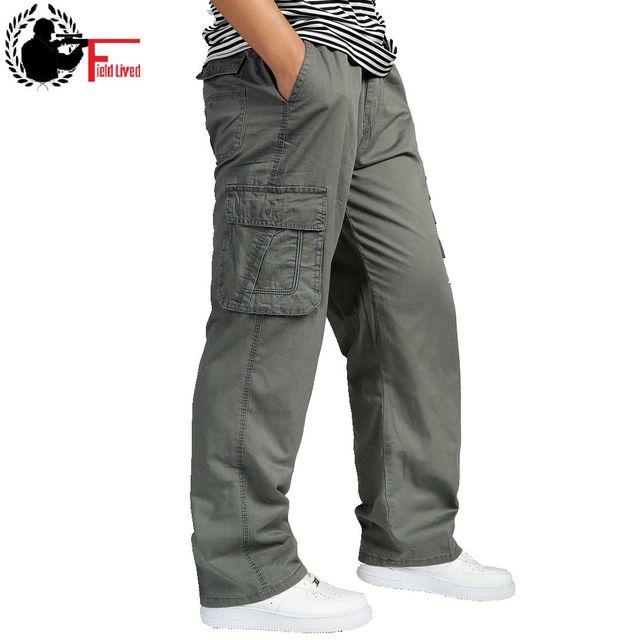 Брюки карго мужские с завышенной талией, эластичные свободные штаны, рабочая одежда, много карманов, модель 6XL, лето
