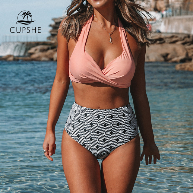 CUPSHE Pink Twisted Halter Bikini With Geometric Print High-waisted Sexy Lace Two Pieces Swimwear Women 2020 Beach Bathing Suits 1
