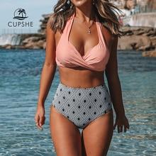CUPSHE الوردي الملتوية الرسن بيكيني مع طباعة هندسية عالية الخصر مثير الدانتيل قطعتين ملابس السباحة النساء 2020 شاطئ لباس سباحة