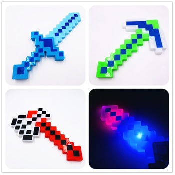 Minecraft Luminous vocal diamond sword axe bow and arrow children toy luminous sword gift for children Birthday Christmas kids frozen aisha queen children s birthday party christmas props decoration set kids toy for children gift