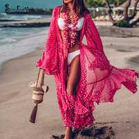 2019 traje de Plage nuevo rojo de gasa largo Vestido de playa Bikini cubrir Sarong traje de baño cubrir ropa de playa Pareo playa vestido