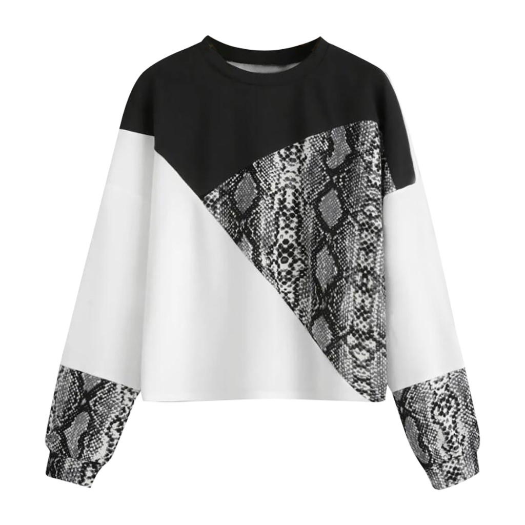 Women's Long Sleeve Color Block Irregular Stitching Snake Colorblock Autumn Pattern Pullover Sweatshirt Top Patchwork#40
