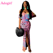 Adogirl Floral Leopard Print Ruffle Maxi Dress Women Sexy Slash Neck Off Shoulder High Slit Bodycon Club Party Dress Robe Long